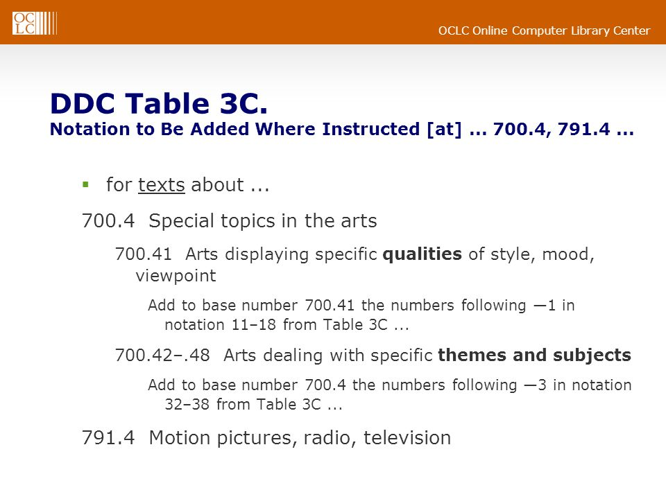 DDC Table 3C. Notation to Be Added Where Instructed [at]. 700. 4, 791